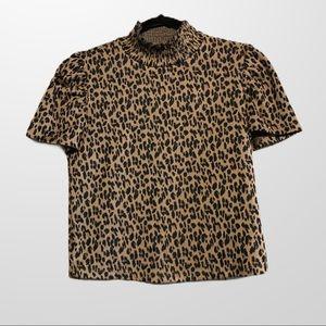 ZARA / cheetah print mockneck top M